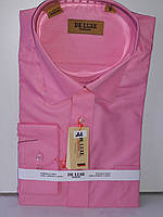 Рубашка мужская De Luxe vd-0022 розовая однотонная классическая с длинным рукавом