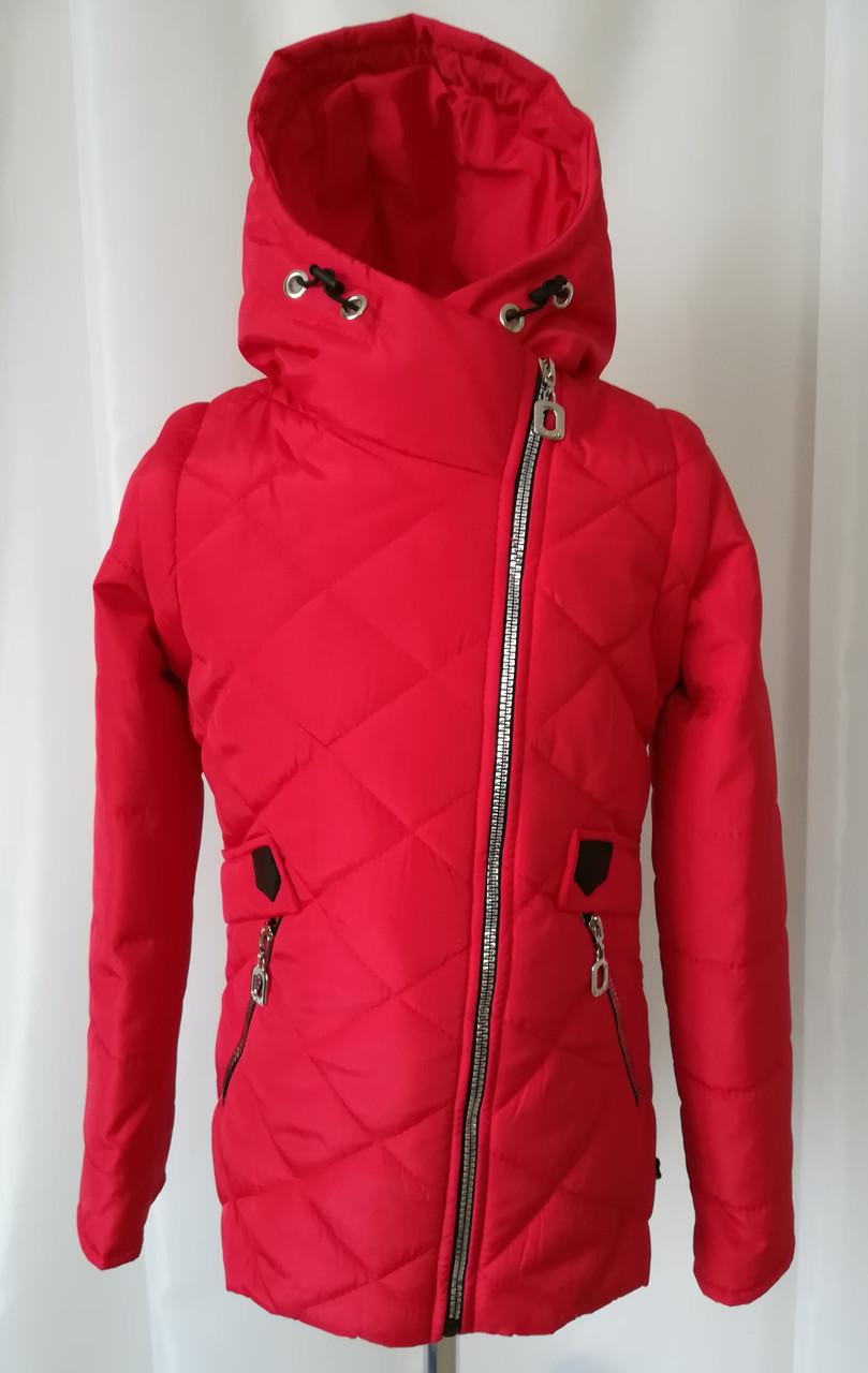Куртка для девочки на весну удлиненная 34-44 Красный - Детская и  подростковая одежда Uventum 607327474e059