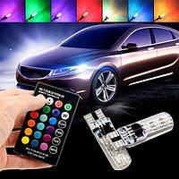 Автомобильные LED лампы в габариты T10 с пультом. Цветные светодиодные лампочки стробоскопы