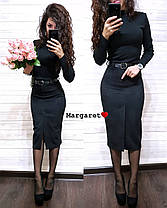 Стильная замшевая юбка-карандаш с ремешком, размеры С, М, Л, фото 3