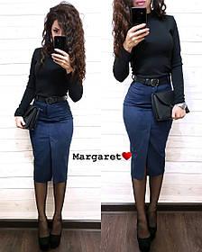 Стильная замшевая юбка-карандаш с ремешком, размеры С, М, Л
