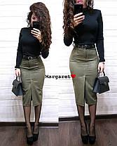 Стильная замшевая юбка-карандаш с ремешком, размеры С, М, Л, фото 2