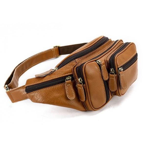 3caabbe62364 Кожаная сумка на пояс из натуральной кожи в светло коричневом цвете BEXHILL  Bx8336C