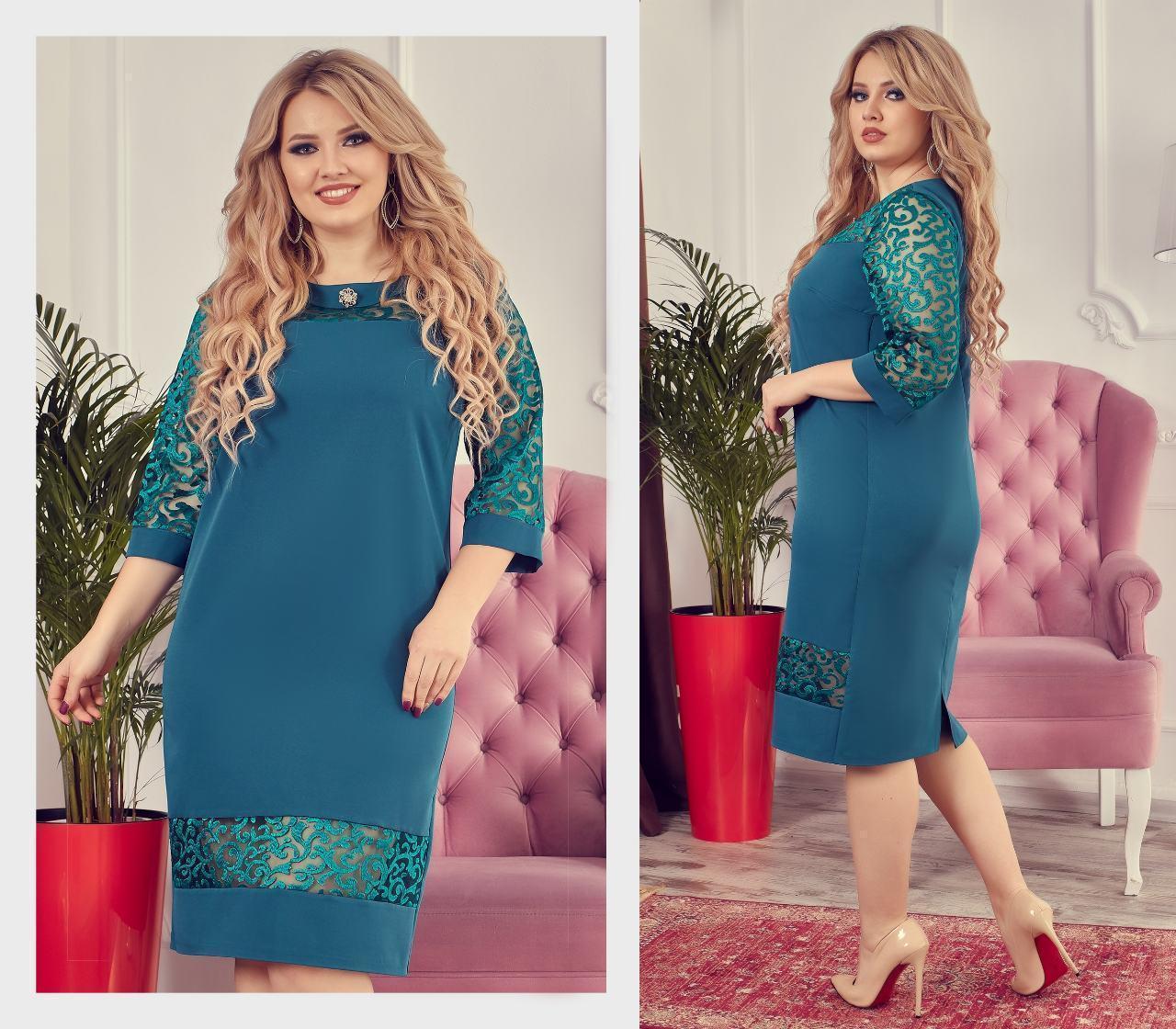 Платье женское, креп, модель 150 батал, цвет - аквамарин