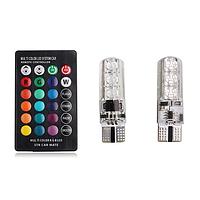 Автомобильные LED лампы габаритные огни RGB T10 W5W с пультом. Цветные светодиодные лампочки стробоскопы, фото 1