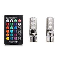 Автомобильные LED лампы габаритные огни RGB T10 W5W с пультом. Цветные светодиодные лампочки стробоскопы