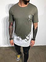 Мужская футболка хаки с надписью We live in Black Island