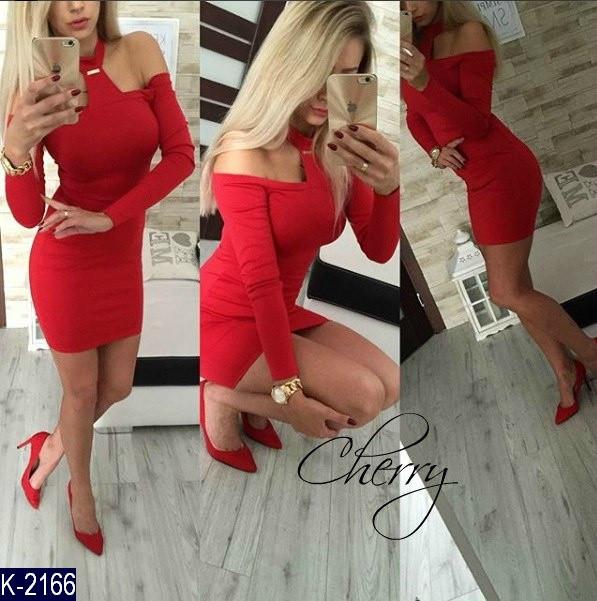 Платье женское Ткань: французский трикотаж Цвет: красный, чёрный Размер: 42-44