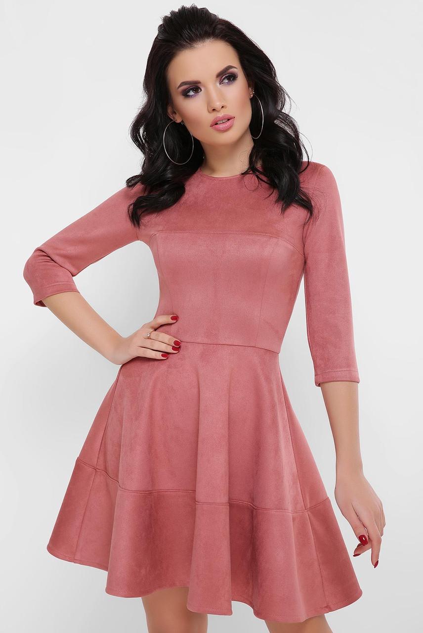 Замшевое нарядное молодежное платье