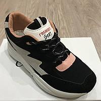 Женские кроссовки черные / розовые замш / сетка , фото 1