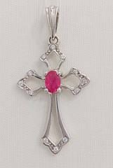 Підвіска золота з діамантами і рубіном П155-0063