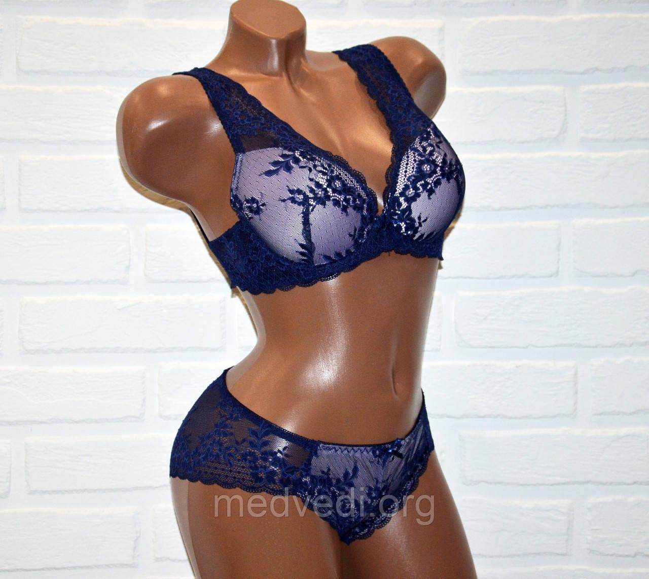 Кружевной комплект нижнего женского белья, синего цвета, бюстик 85C + трусы слипы размер XL