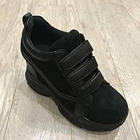 Женские сникерсы черные замшевые 38 р, фото 1
