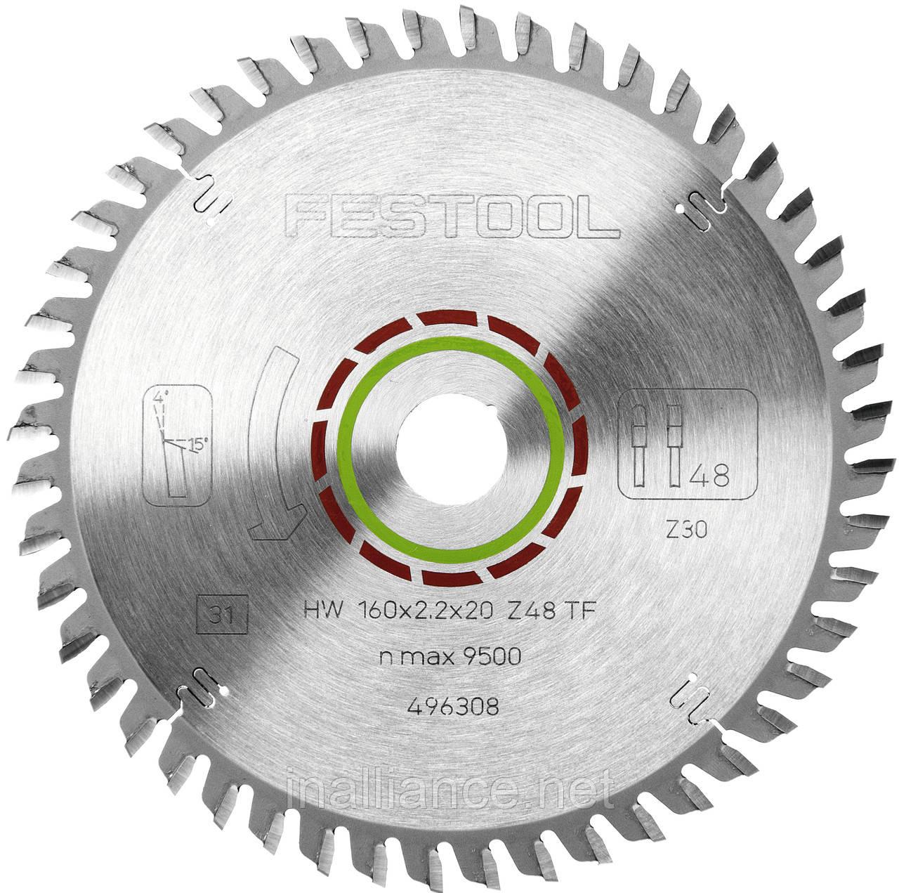 Пильный диск с трапециевидными плоскими зубьями 160 х 20 х 2,2 мм TF48 Festool 496308