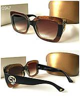 51e3d9c5dfd4 Женские большие квадратные солнцезащитные очки Guссi коричневые