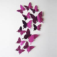 Набор №39 из 12 шт декоративных 3-D бабочек фиолетовых, без магнита