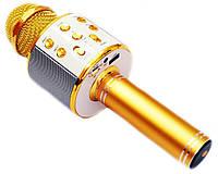 Микрофон Караоке Wester WS-858 портативная колонка золото