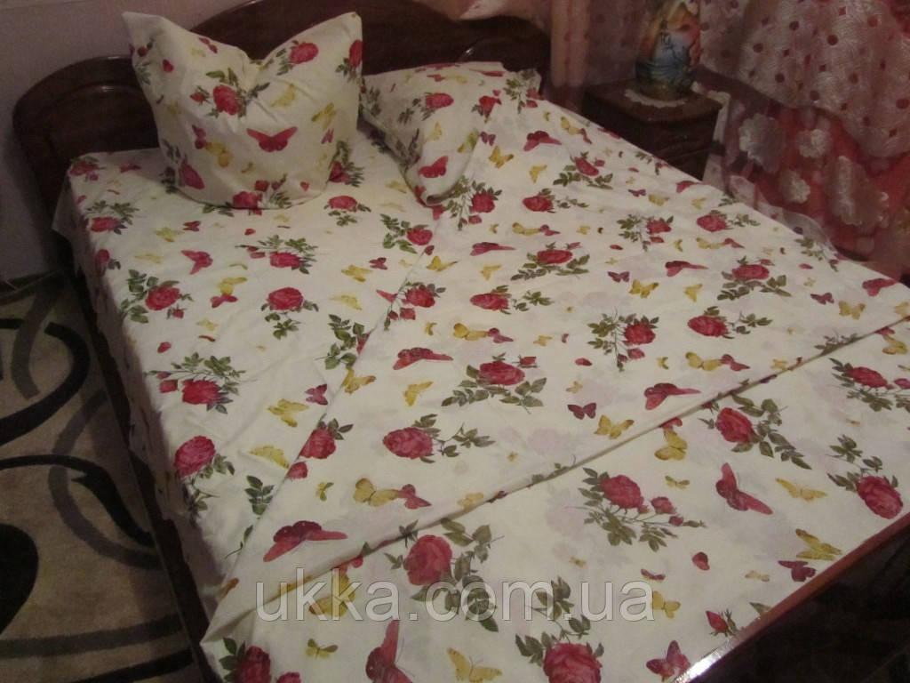 Полуторное постельное бязь 100% хлопок Роза с бабочкой