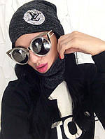 Комплект Женская Шапка с термонаклейкой и Снуд черного цвета Ангора