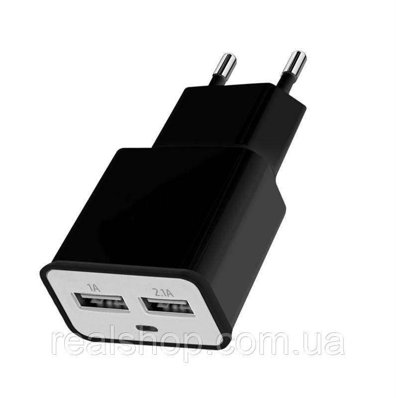 Зарядное устройство  2xUSB, 2.0A black