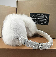 Меховые наушники Белые с хрустальными бусинами Корона Зимние ушки натуральный мех