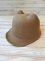 Детская фетровая кепка, шапка с ушками, шерстяная кепи, жокейка