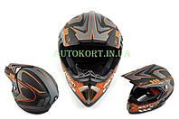 Шлем кроссовый   (mod:B-600) (size:ХL, черно-оранжевый матовый)   BEON