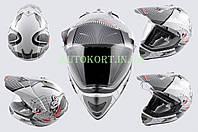 Шлем кроссовый   (mod:MX433) (с визором, size:XL, белый, SNAKE)   LS-2