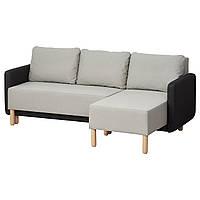 BENNEBOL Rozkładana sofa 3-osobowa, z szezlongiem jasnoszary, ciemnoszary