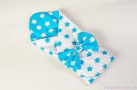 """Одеяло конверт на выписку мальчику 80х85 см, """"Лазурные звезды"""" цвет бирюзовый"""