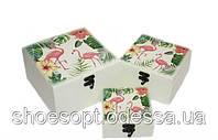 Шкатулка набор 3шт Фламинго 18х18х10,5см, фото 1