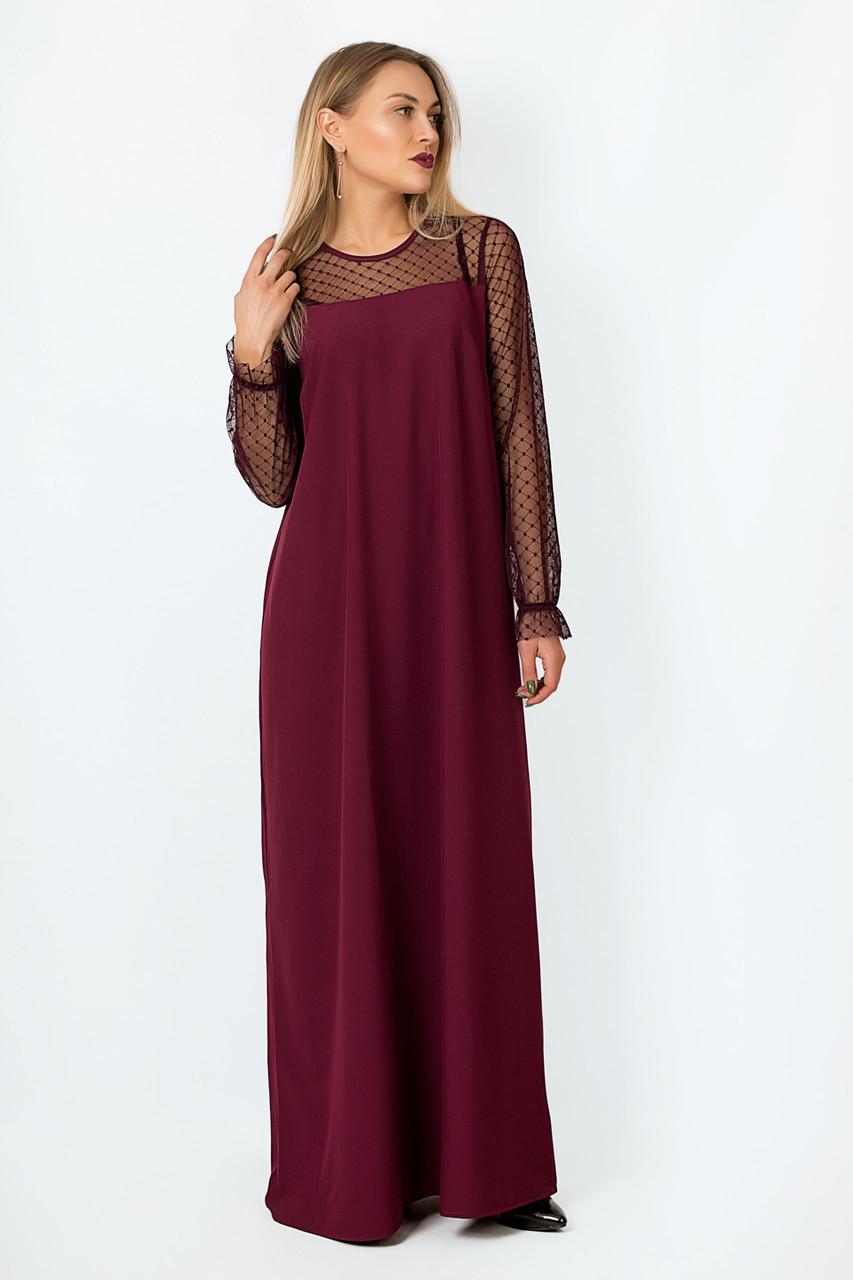 Платье LiLove р15140-1 54-56 бордовый