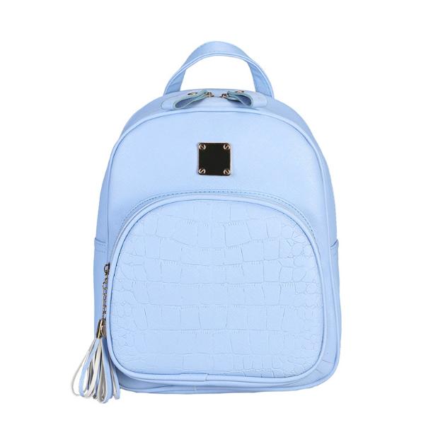 Рюкзак женский кожзам Crocodile print с кисточкой Голубоу