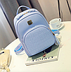 Рюкзак женский кожзам Crocodile print с кисточкой Голубоу, фото 4
