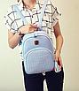 Рюкзак женский кожзам Crocodile print с кисточкой Голубоу, фото 2