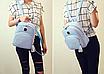 Рюкзак женский кожзам Crocodile print с кисточкой Голубоу, фото 3