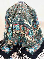 Шерстяной Павлопосадский платок с бахромой