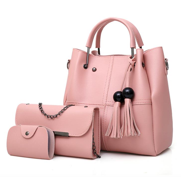 Сумка женская классическая набор 3 в 1 Розовый