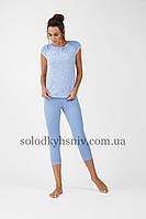 Жіноча Піжама ELLEN бриджі+футболка Білі Листочки 225 001 be2bd6a4738ab