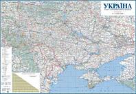 Настенная карта автомобильных дорог Украины 150х110 см - картон/на планках