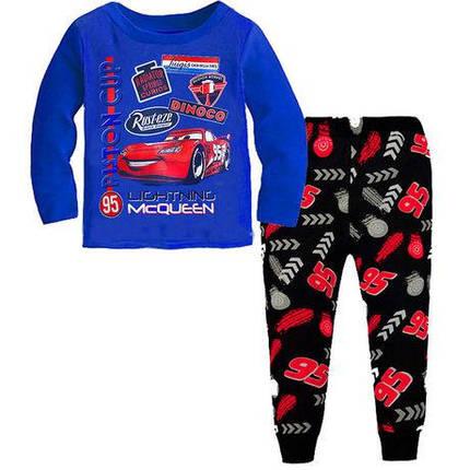 Пижама детская для мальчика  коттоновая  Тачки 2-7 лет синяя, фото 2