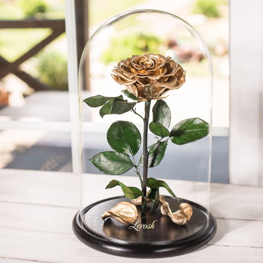 Стабилизированная роза в колбе Lerosh - Lux 33 см,  Gold Золото