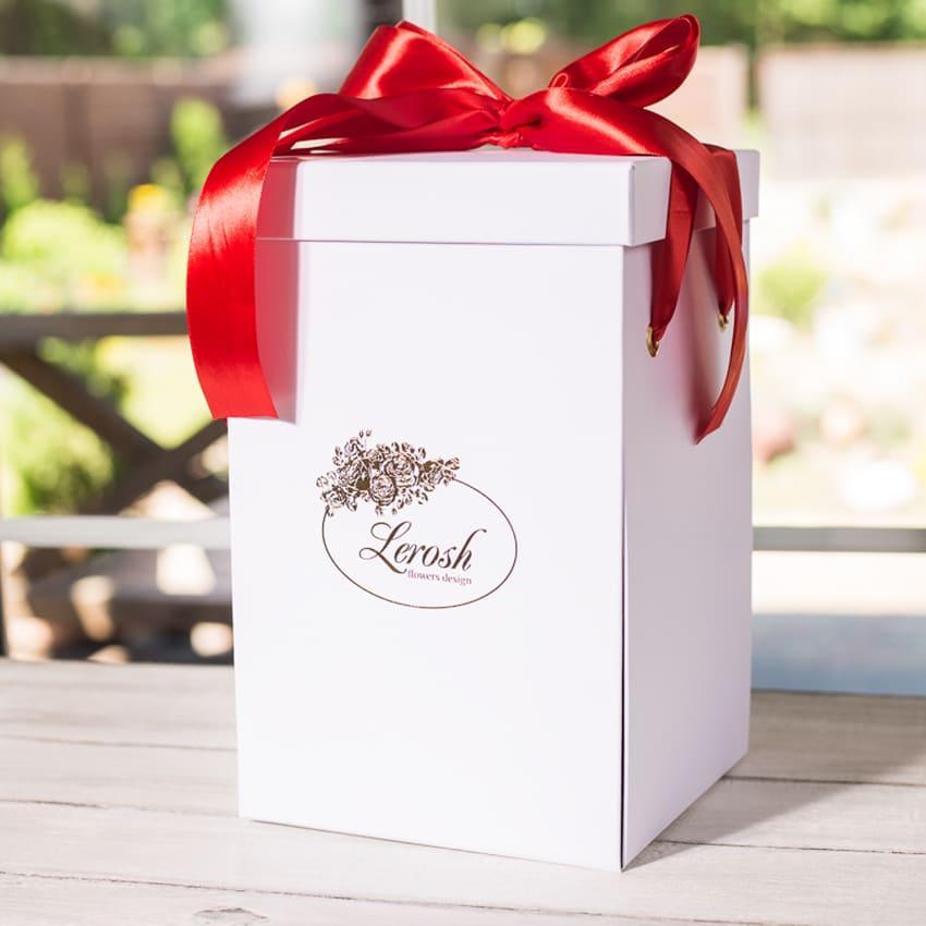 Подарочная коробка для розы в колбе Lerosh - 43 см,  Белый