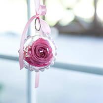 Брелок шар Стабилизированная роза + сухоцветы Lerosh - Розовый