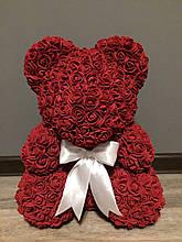 Мишка из роз (материал фоамиран) Lerosh - бордовый 40 см, белый бант