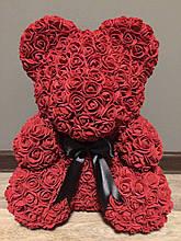 Мишка из роз (материал фоамиран) Lerosh - бордовый 40 см, черный бант