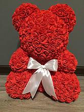 Мишка из роз (материал фоамиран) Lerosh - красный 40 см, белый бант