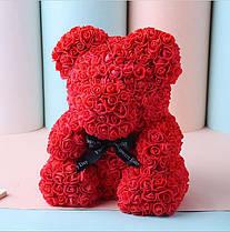 Мишка из роз (материал фоамиран) Lerosh - красный 40 см, черный бант