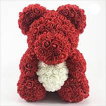 Мишка из роз (материал фоамиран) Lerosh - красный 40 см, сердце белое