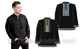 Сорочка чоловіча з довгим рукавом під вишивку хрестиком, чорного кольору